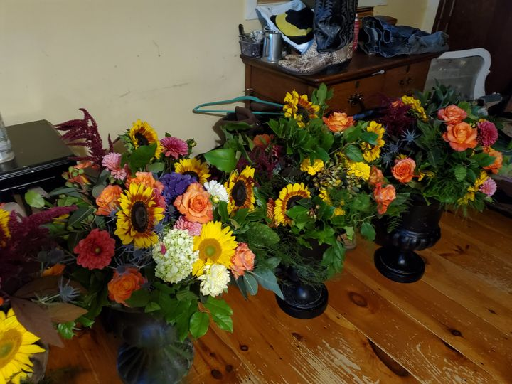 Urns with flowers