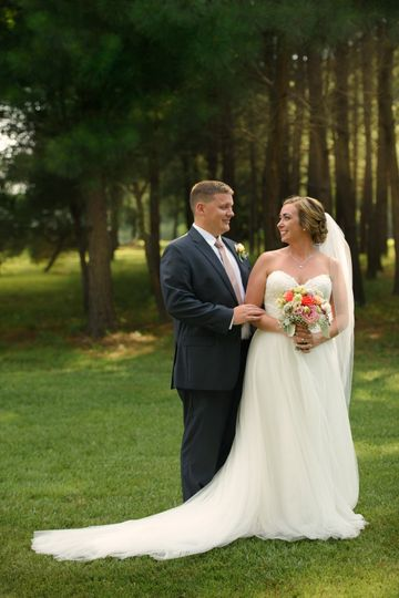 Married couple near forest