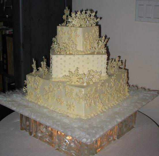 Winter Wonderland was the theme for this cake. Chocolate Cake iced in butter cream topped with white...