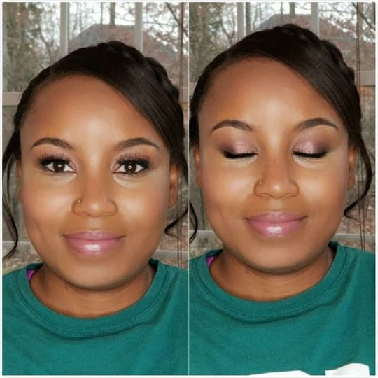 Soft glam bridal trial with light highlighting and contouring