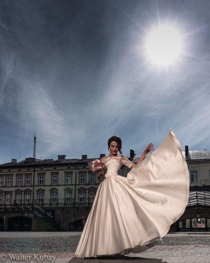 Full moon and wedding dress
