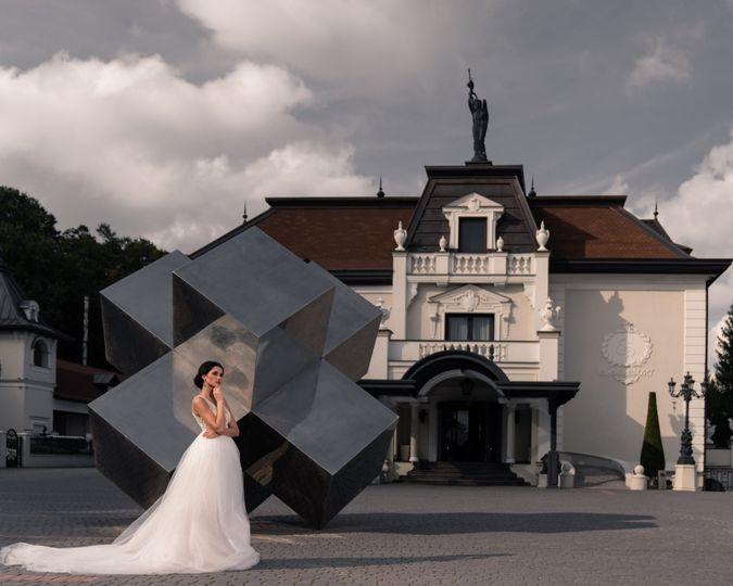 Bride and backdrop