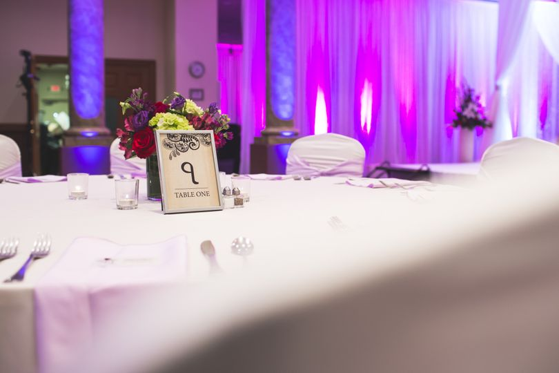 Table number and floral centerpiece