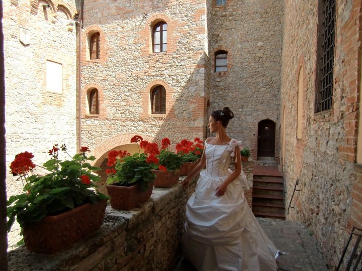 Bride in front of the tower