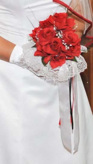 Silk flower bridal bouquet - red roses