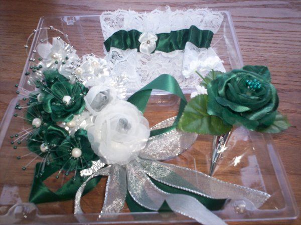 Silk flowers prom wrist corsage, boutonneire with silver pin holder, garter