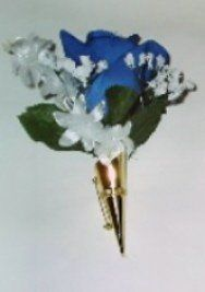 Silk flower boutonneire with gold pin holder