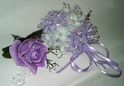 Silk flower boutonneir with silver pin holder, prom wrist corsage