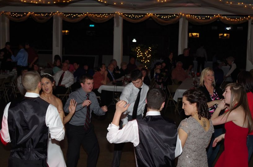 The couple's guests dancing
