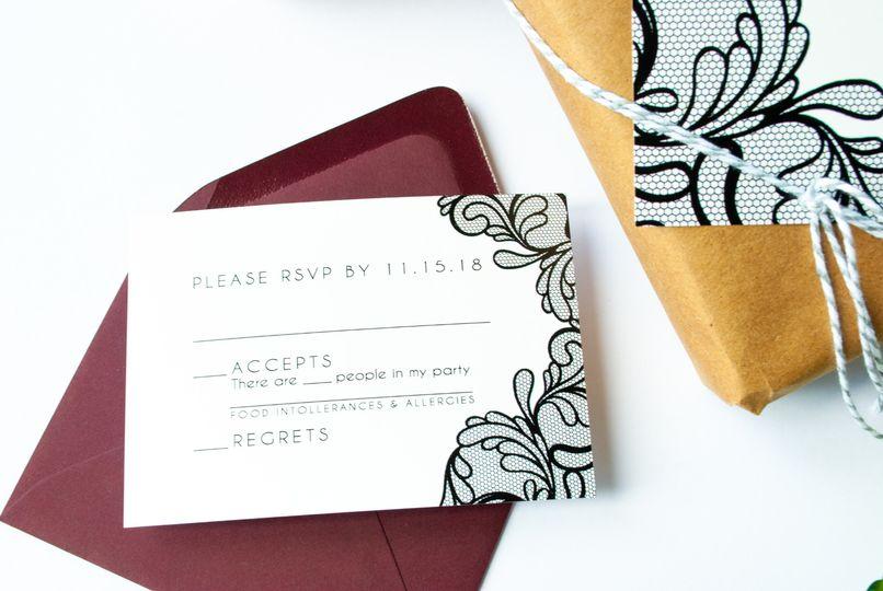 Black Lace Custom Invitations