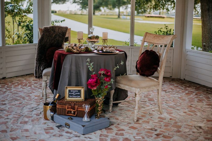 Table setting on a porch