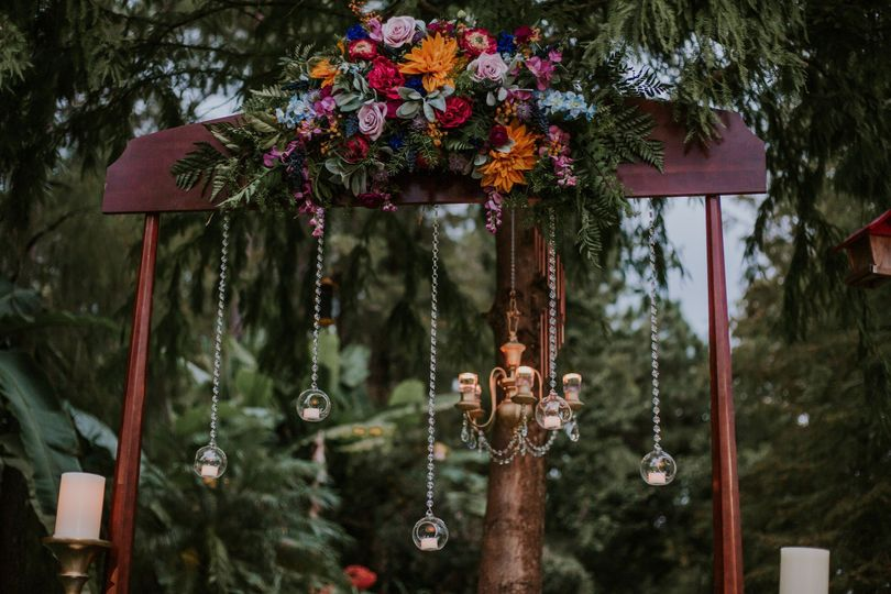 Arbor with flowers along the top