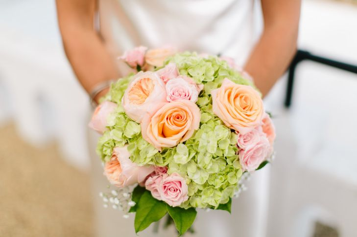 green hydrangea and peach rose bouquet 51 457199