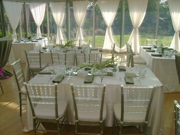 Ice Chiavari Chair with white cushion and White and Sage Stripe linens.