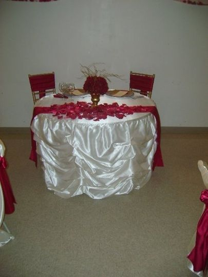 Bustle Tablecloths are available for Sweetheart or Cake Table in Ivory or White.