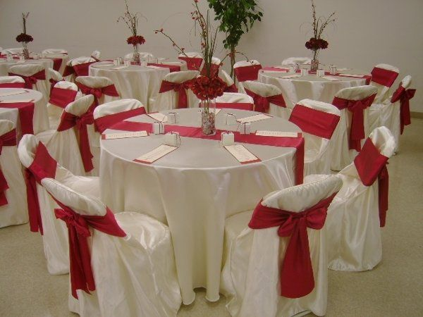 Satin Folding Chair Cover with Crimson Red Sash.  Perfect for your Valentine event!
