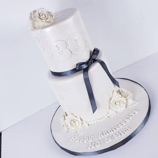 Glossy white cake