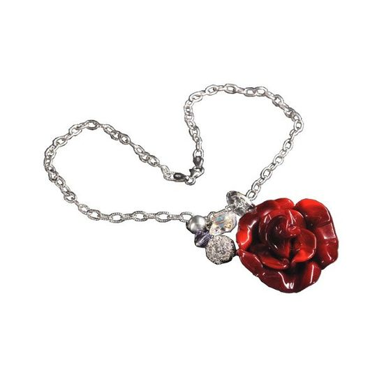 A Murano Glass Rose is the focal point of this beautiful necklace with Swarovski Crystal charms