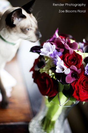 Weddingflowerspurpleandred