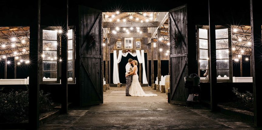 Newlyweds in the barn
