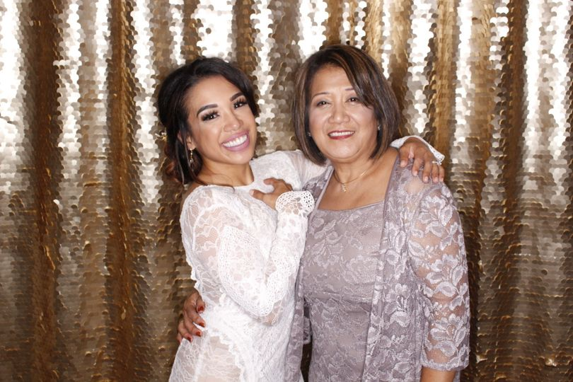 Beautiful Bride and Mother at Willows Lodge, Woodinville   Honey Sequins backdrop