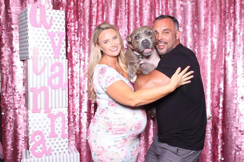 Sarah & Tony's Baby Shower   July 2018   Rosé sequin backdrop
