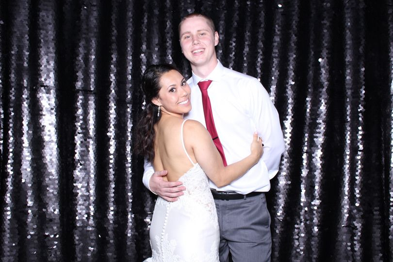 Jarryn & Erik's Wedding at Rosehill Community Center   August 2018   Black Sequins backdrop