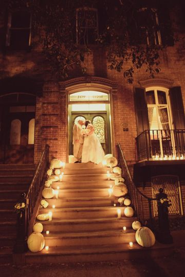 Newlyweds up the stairs