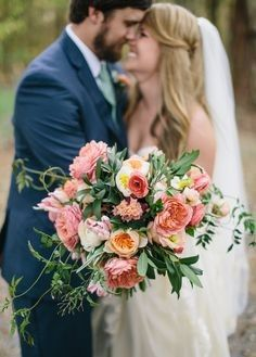 Newlyweds and the wedding bouquet