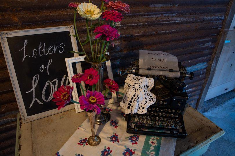 Vintage typewriter, signage