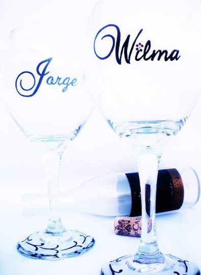 A hand painted glass makes the perfect gift for your wedding party. Each glass can be customized...