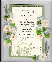 Wedding invitation with hydrangea, larkspur and mondo grass prior to being framed.