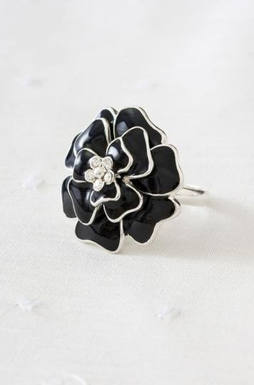 Bloom Flower Ring in Black - An elegant but edgy touch to any bridal party!