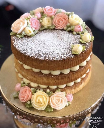 Layered naked cake with floral decor