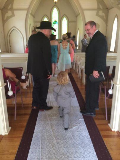 Indoor chapel wedding.