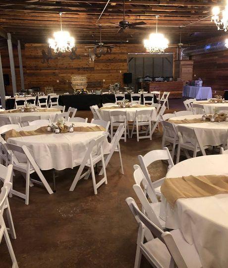 Interior of reception barn