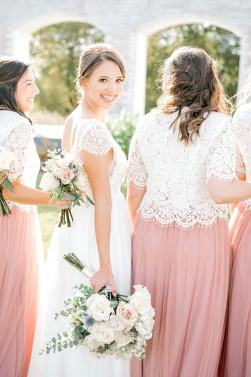 Cream lace with blush-pink skirts