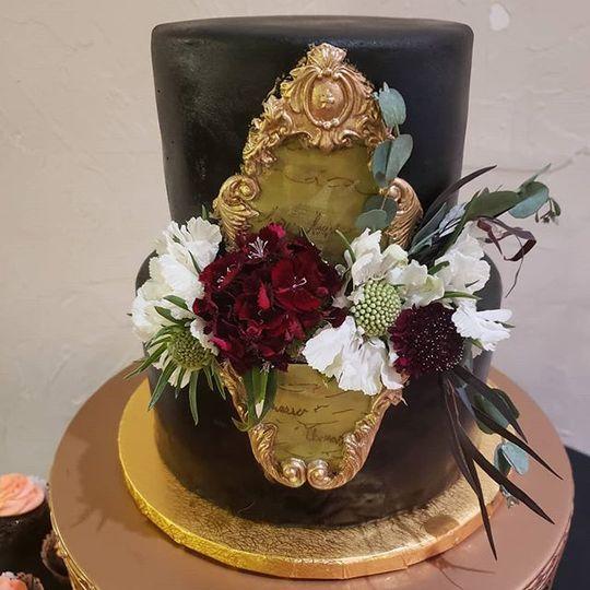 Black vintage wedding cake