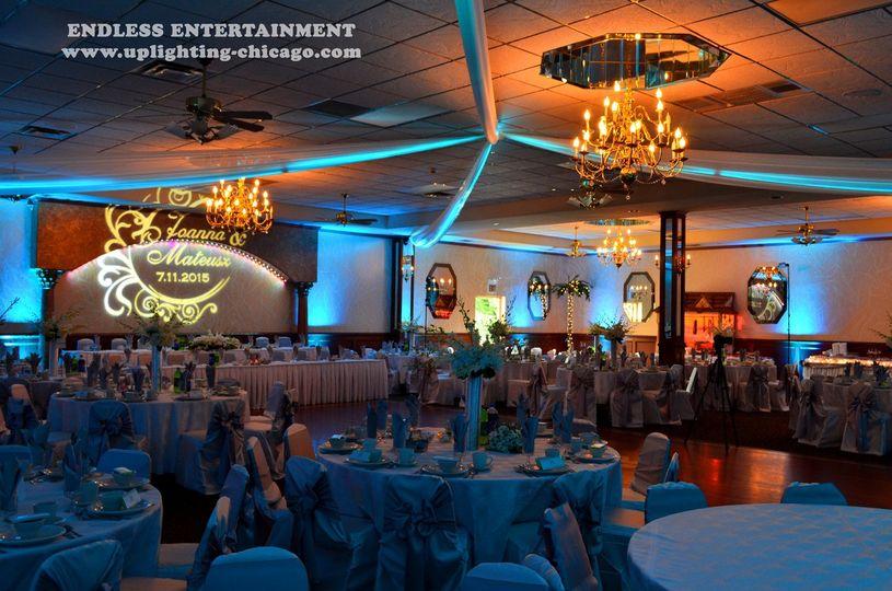 wedding lighting uplighting gobo monogram paradise