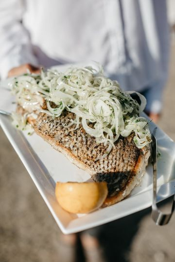 Wood grilled sea bass