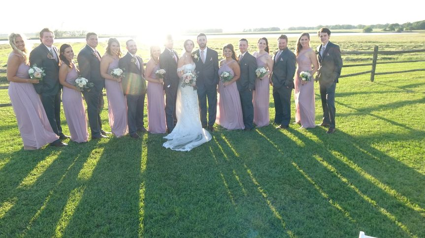 Wedding Party with sunset