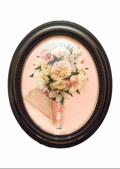 Framed bridal bouquet