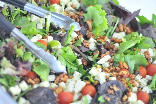 Chopin Mulitple Leaf Salad with Green Onion Cheese and Candied Walnuts