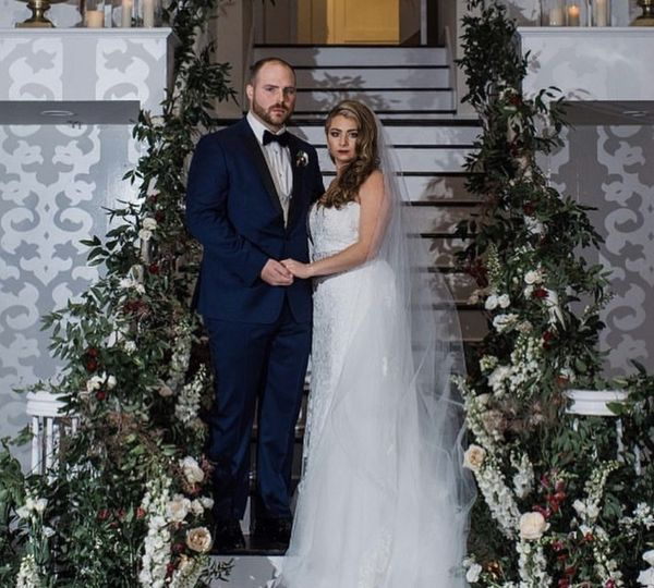 Groom and bride on the steps