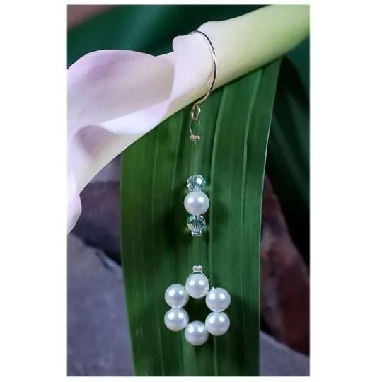 Promise Swing Earrings  Swarovski Crystal and Swarovski Pearl custom color matched bridal jewelry...