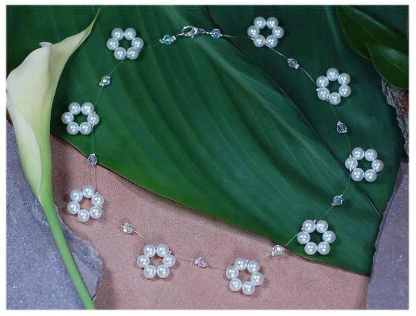 Promise Choker Necklace  Swarovski Crystal and Swarovski Pearl custom color matched bridal jewelry...