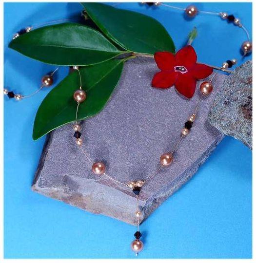 Treasure Necklace   Swarovski Crystal and Swarovski Pearl custom color matched bridal jewelry in...