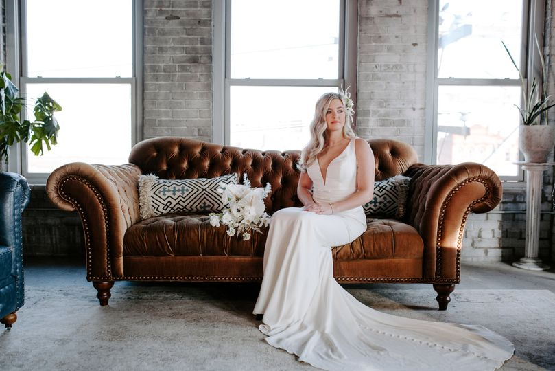 Bride sitting on couch