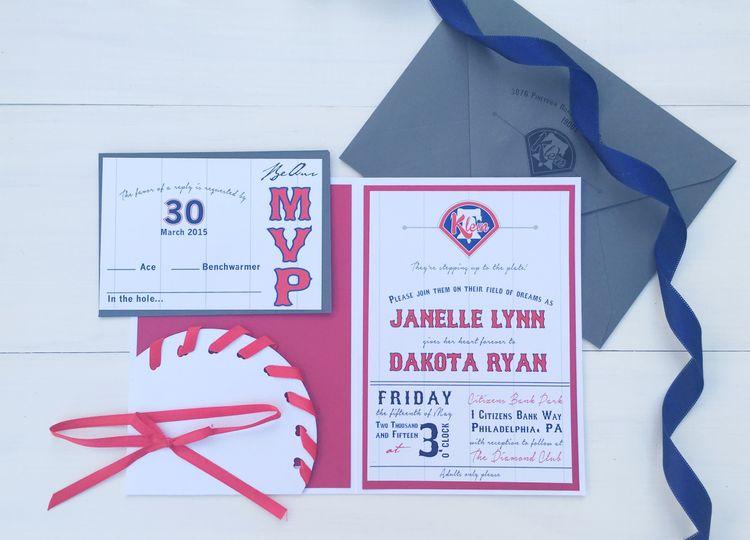 jsd baseball wedding invitation