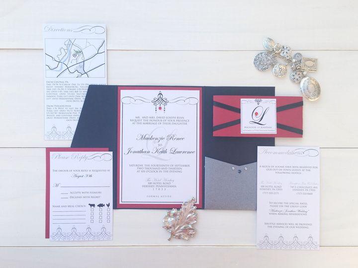 jsd black silver red wedding invitation